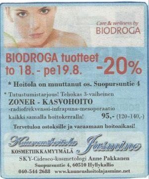 BIODROGA-tarjous to 18.8- pe 19.8