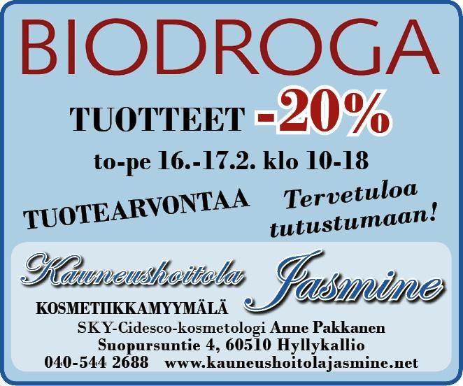 BIODROGA-tuotteet -20% to 16.2-pe 17.2. Tervetuloa ostoksille!